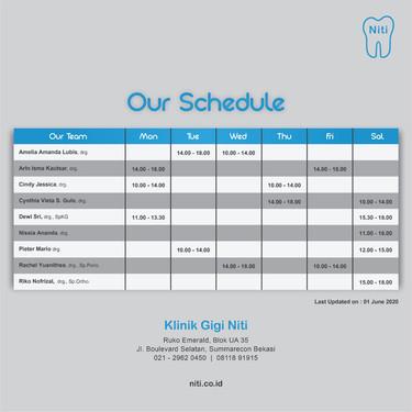 Jadwal praktek Niti, Summarecon Bekasi
