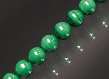 BRACELET DE PERLES DE MALACHITE 6 à 8 mm