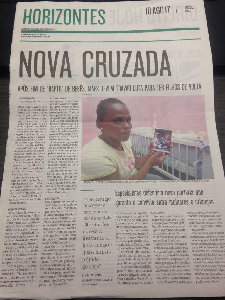 Reportagem do Jornal Hoje em Dia do dia 10/08/2017.