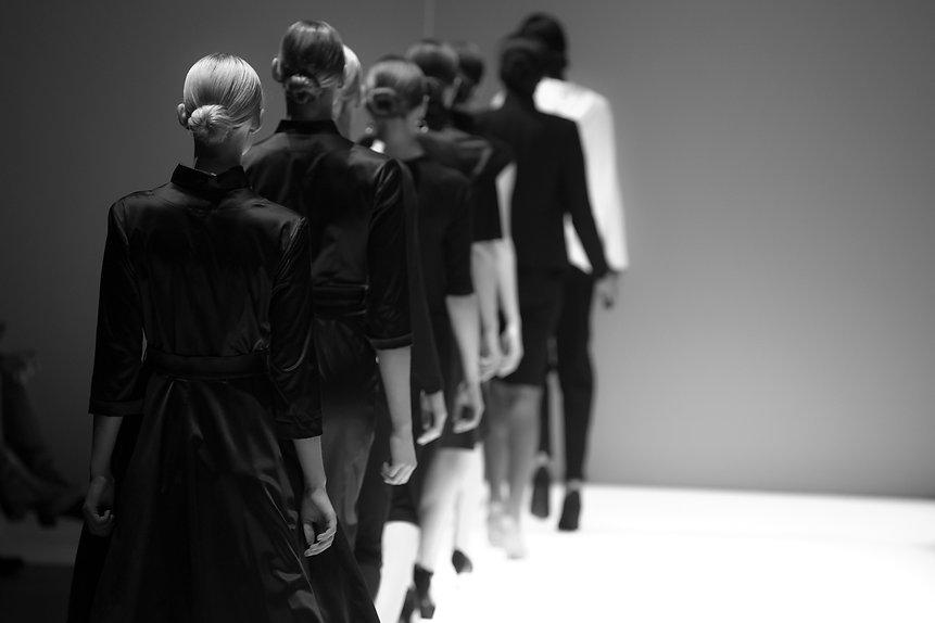Fashion models on a catwalk during runwa