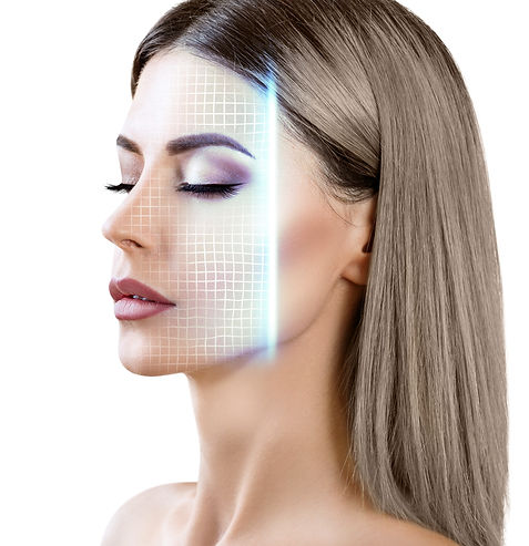 Technological scanning of woman's face.