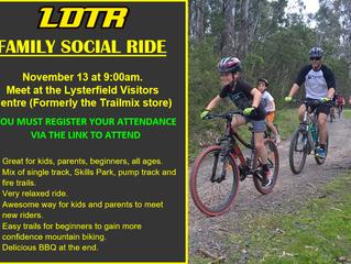 Family/Beginner Social Ride - November