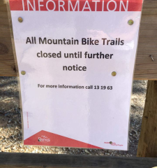 ALL Mountain Bike Trails Closed at Lysterfield Park