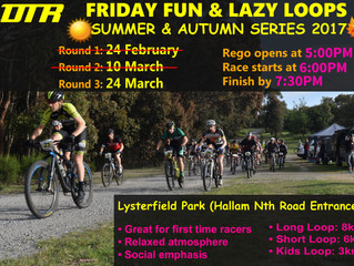 Changed times for this Friday's FFLL Race