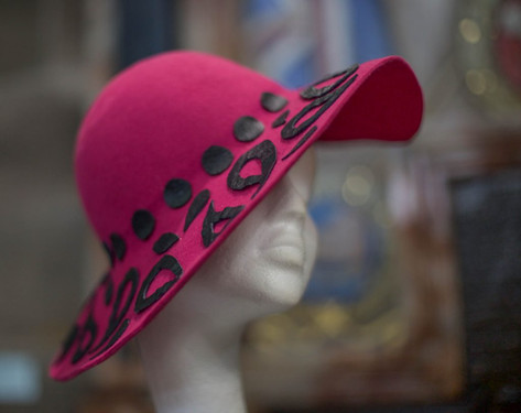 Pink felt capeline with Paisley Pattern detail