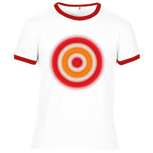 SALE - Red Dots Target - screen-printed T-Shirt - White / Multi