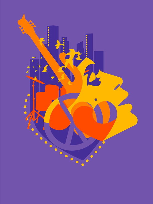 PEACE & LOVE Fine Art Print - Inspired by Prince