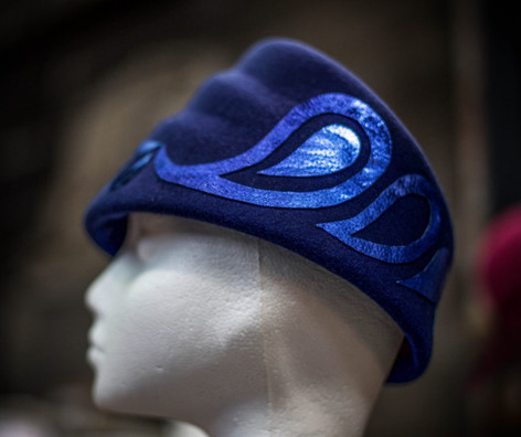 Blue 1930's felt hat with Paisley Pattern detail