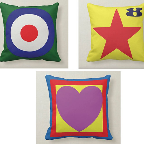SET OF 3 Pop Art Cushion (Double Sided) - Inspired by Paul Weller & Peter Blake
