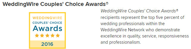 2016 WeddingWire Couple's Choice Award from Reviews