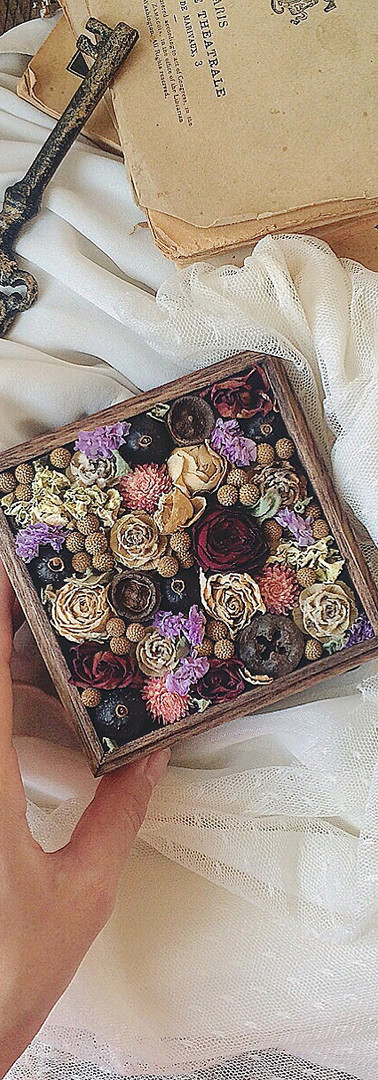 Little Wooden Box with Dried Flowers
