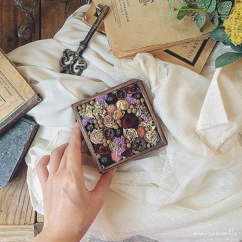 【コフレ・オ・フルール】ラスティック&アンティーク ドライフラワー ウッドボックス(オリジナルサンキューカード付き)