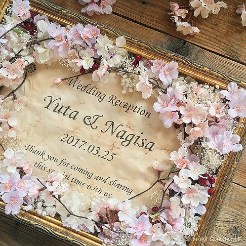 桜&かすみ草 春のボックスフレーム ウェルカムボード(A3)
