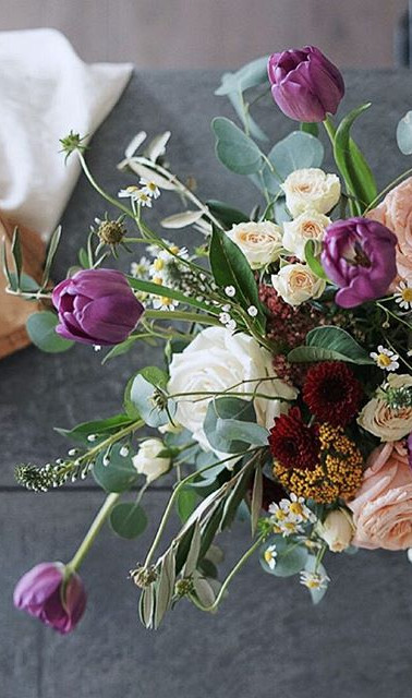 Pure Bouquet with Purple Tulips