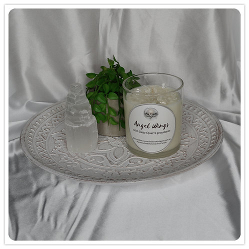 Scented Soy Candle - Angel Wings with Clear Quartz
