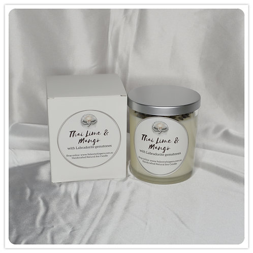Scented Soy Candle - Thai Lime and Mango with Labradorite