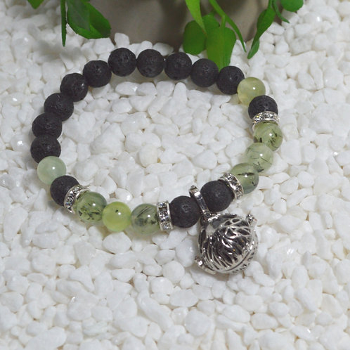 Bracelet- Lava and Prehnite