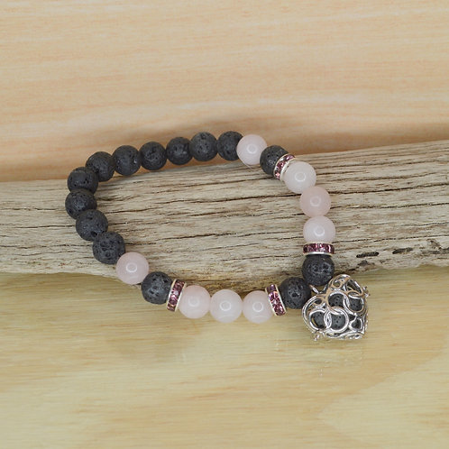 Bracelet- Lava and Rose Quartz