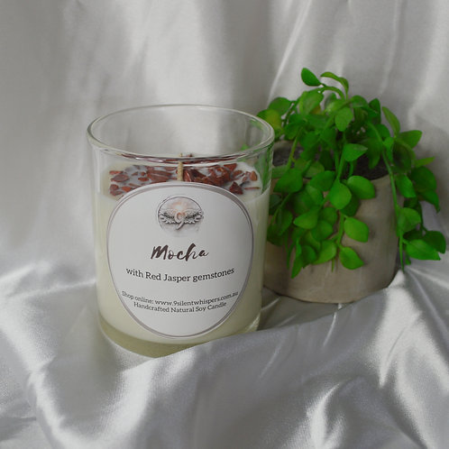 Scented Soy Candle - Mocha with Red Jasper