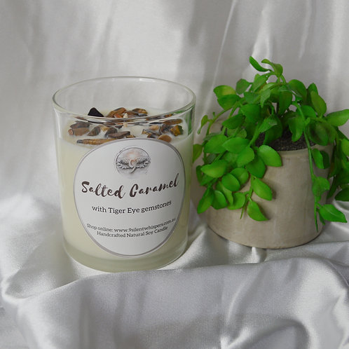 Scented Soy Candle - Salted Caramel with Golden Tiger Eye