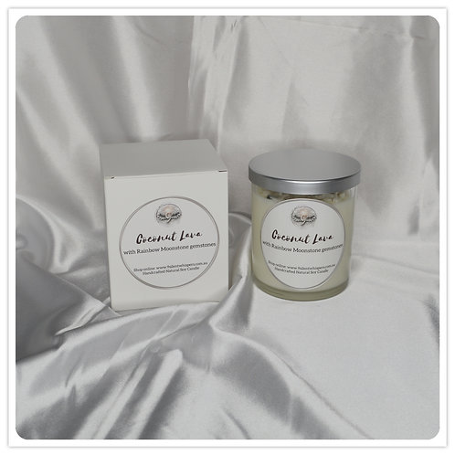 Scented Soy Candle - Coconut Lava with Rainbow Moonstone