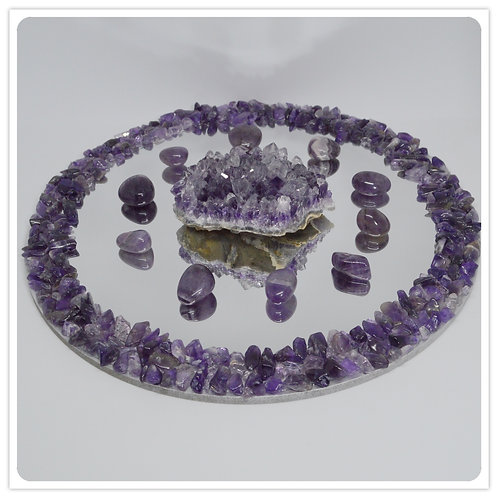 Gemstone Mirror- Amethyst chips