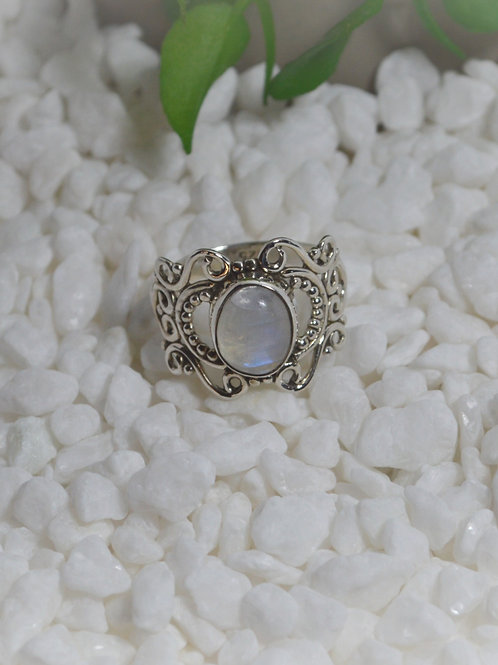 Rainbow Moonstone Ring 1285