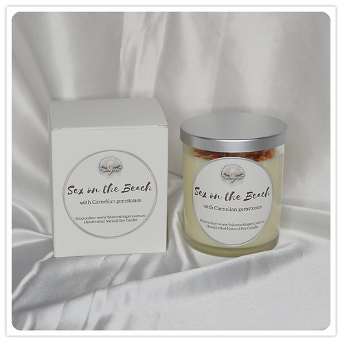 Scented Soy Candle - Sex on the Beach with Carnelian