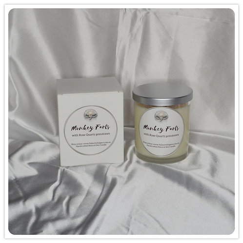 Scented Soy Candle - Monkey Farts with Rose Quartz