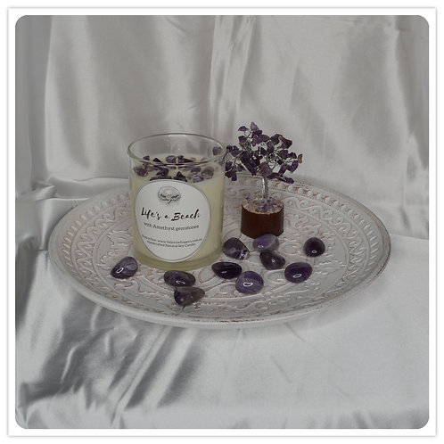 Scented Soy Candle - Life's a Beach with Amethyst
