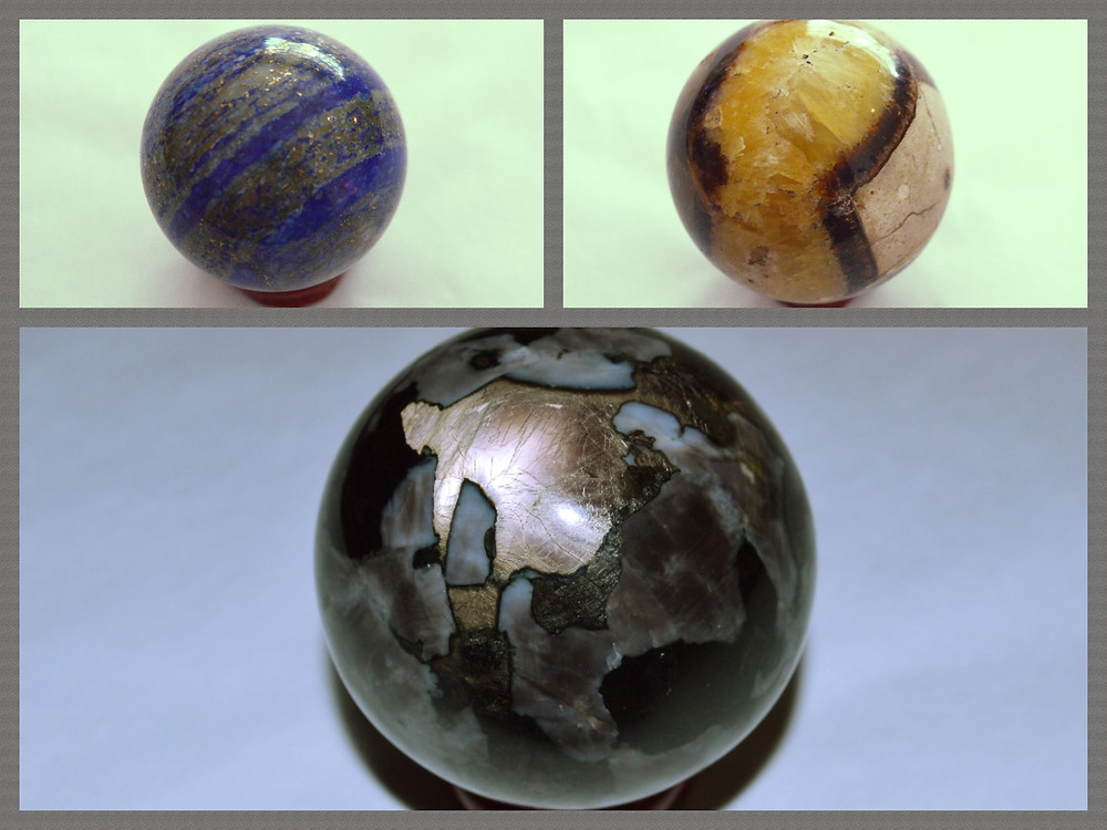 Where are gemstones shaped like spheres?