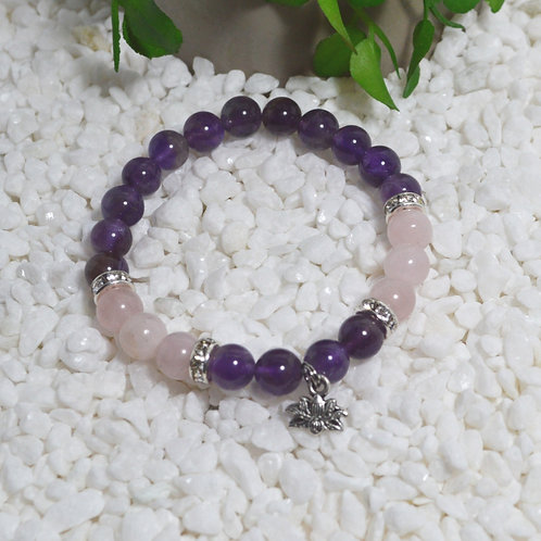 Bracelet- Amethyst and Rose Quartz