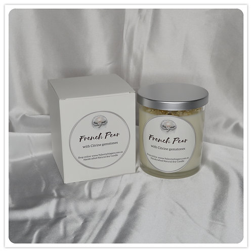 Scented Soy Candle - French Pear with Citrine