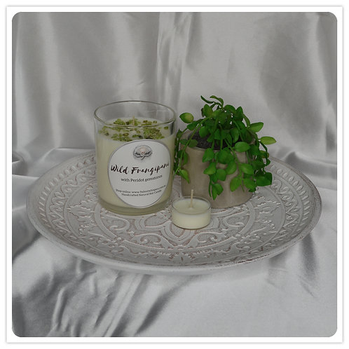Scented Soy Candle - Wild Frangipani with Peridot