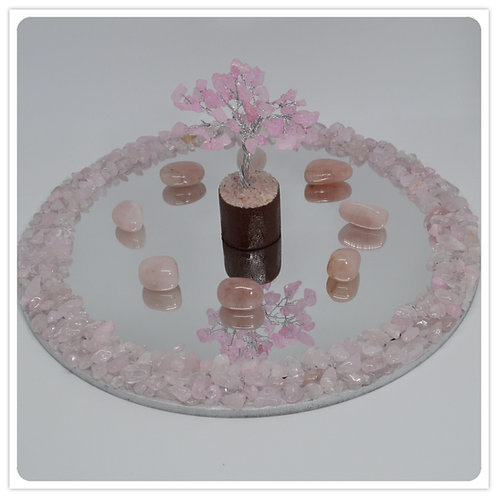Gemstone Mirror- Rose Quartz chips