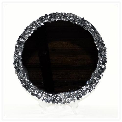 Gemstone Mirror- Black Tourmaline chips