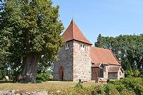 Dorfkirche Laase mit uralter Linde.JPG