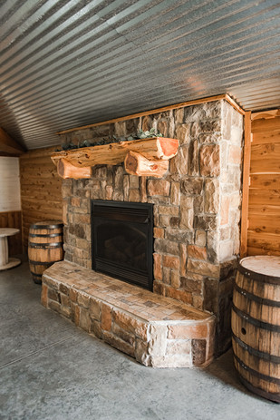 rustic wedding ceremony fireplace
