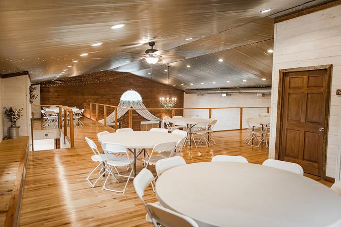 Loft seating rustic wedding venue