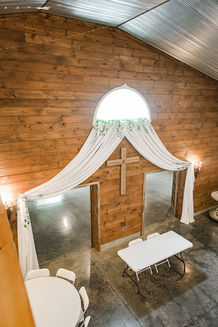 antique wood wall wedding venue