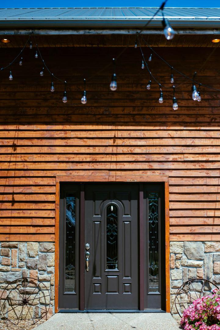 barn patio lights wedding venue