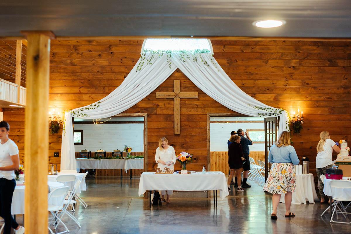 White Draping Barn Wedding