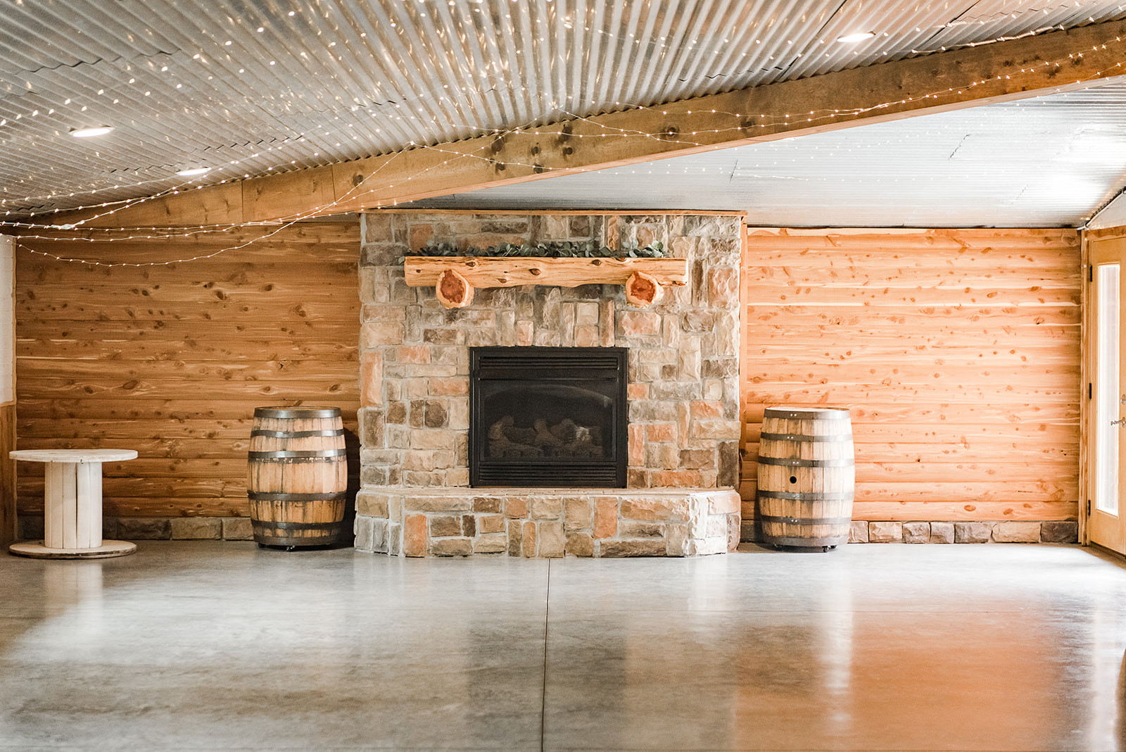 fireplace wedding ceremony rustic