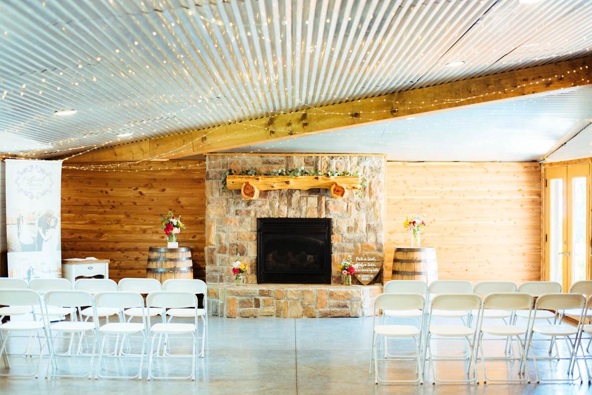 Indoor Ceremony rustic fireplace