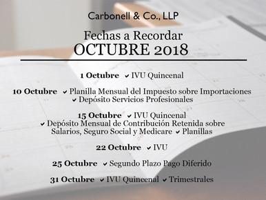 Fechas Importantes a Recordar Durante el Mes de Octubre 2018