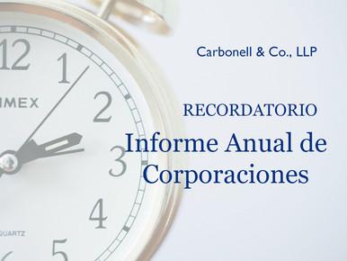 RECORDATORIO: Radicación del Informe Anual de Corporaciones