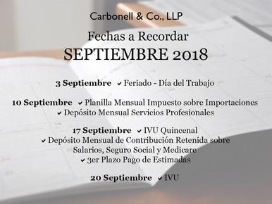 Fechas Importantes a Recordar Durante el Mes de Septiembre 2018