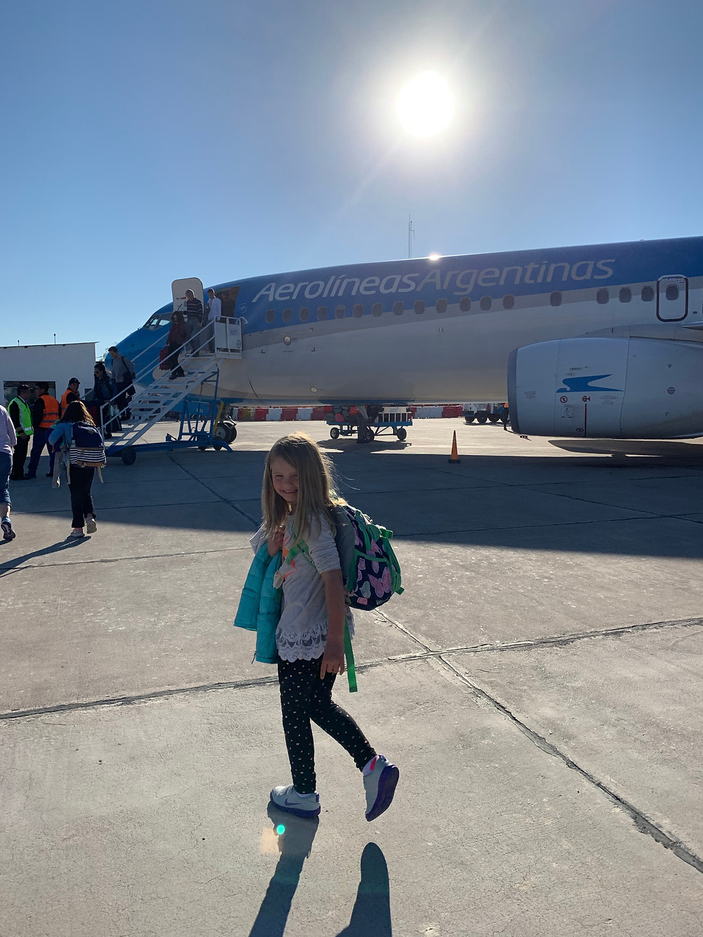Boarding a plane in Argentina