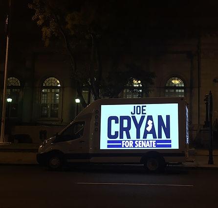Joe Cryan for Senate.  Digital Billboard Truck