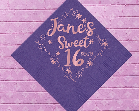 Sweet 16 Birthday Personalized Napkins